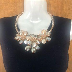 Champagne/Gold necklace w/Pierced Earrings - Set